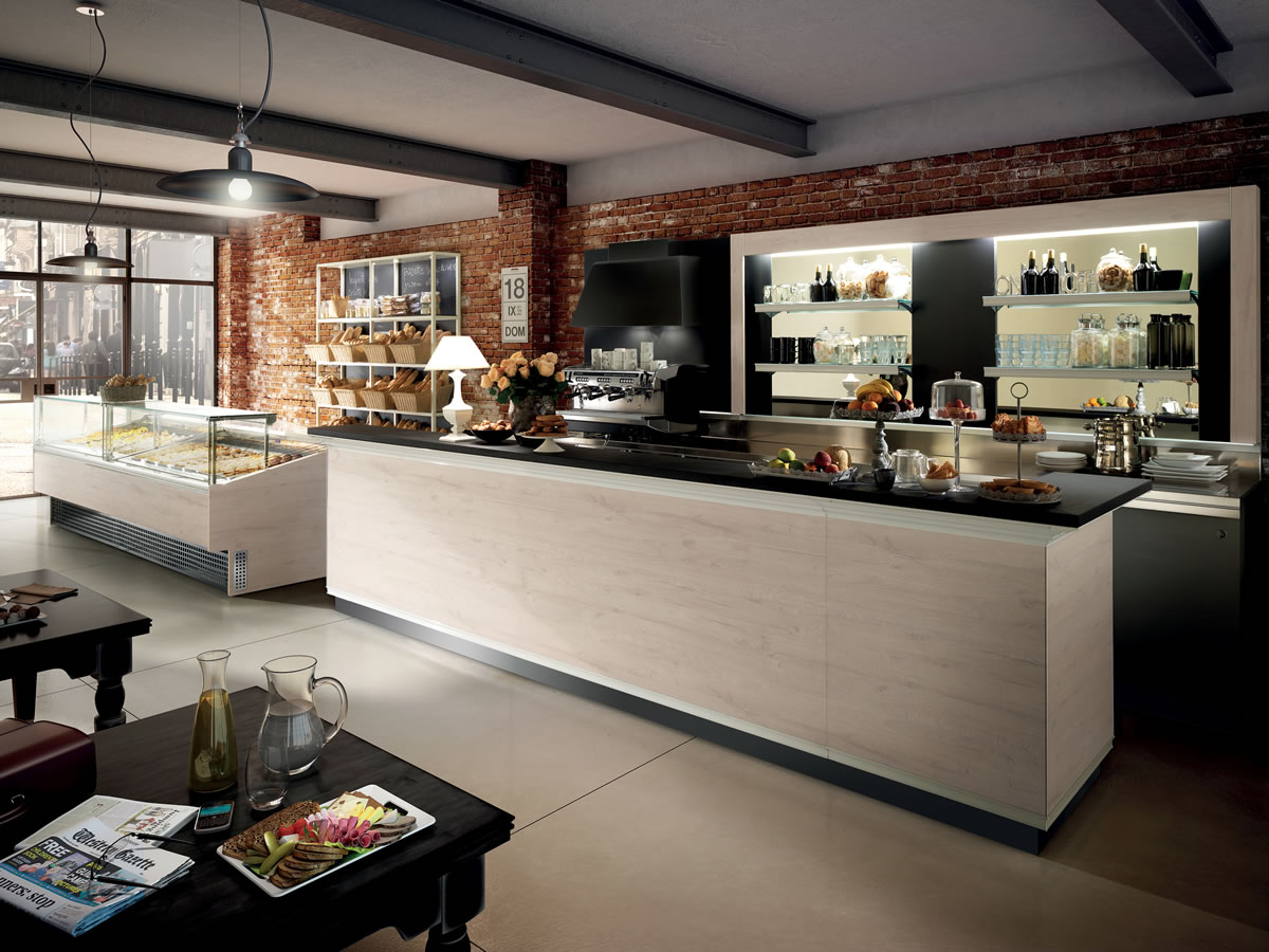 Arredo bar modello brera for Arredamento moderno bar