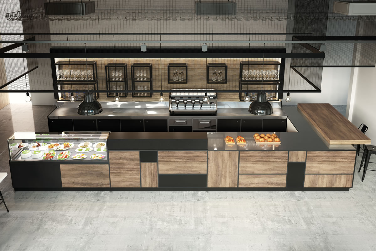 Arredo bar modello madison for Industrial arredamento