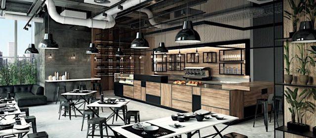 Un arredamento bar in stile industry che spazia dalla colazione al wine bar