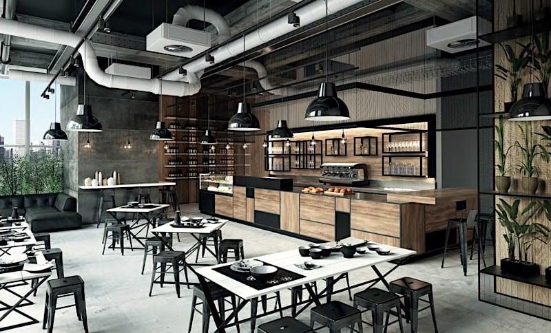 un arredamento bar in stile industry che spazia dalla