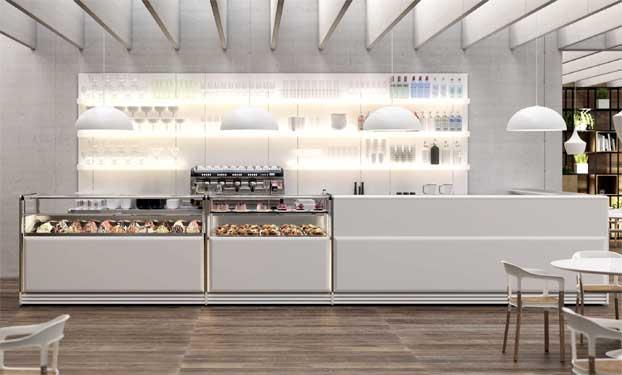 Arredo bar next total white for Bar arredamento